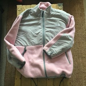 NORTH FACE PINK GRY FULL ZIP FLEECE JACKET COAT S