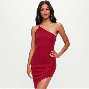 💃🏾Women's Red Asymmetric Dress with One Shoulder