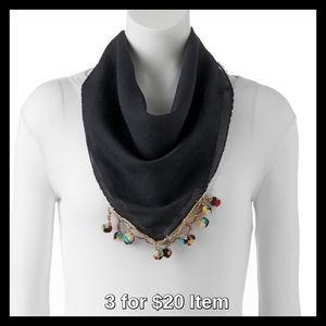 madden NYC Pom-Pom Neckerchief in Black