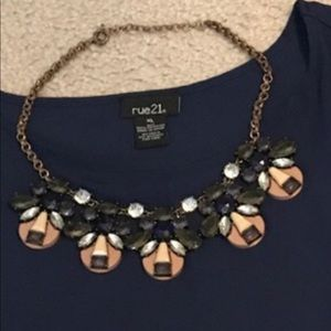 Blue and Tan Statement necklace