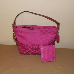 Coach Carly Sateen Top Handle Small Bag w/mirror