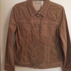 Chicos Tan Corduroy Jewel Button Jacket