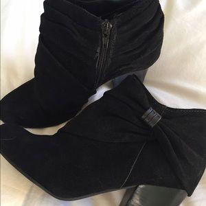 Black suede booties