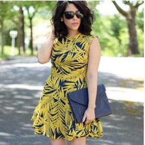 Plus size H&M Tropical Palm Tree Print blue/yellow