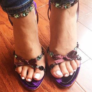 PRADA Jeweled Embellished Purple Velvet Insole
