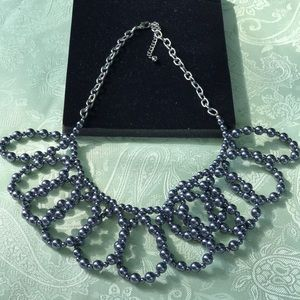 Gray pearl statement necklace