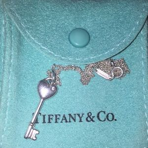 Authentic Tiffany & co diamond heart  key necklace