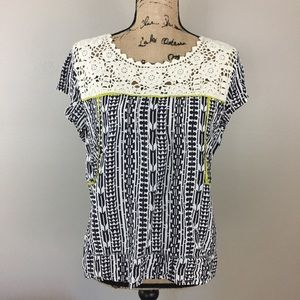 Anthropologie Tiny Crochet Printed Top, Large