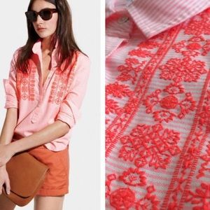 J. Crew LS Over Embroidered Neon