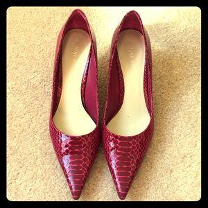 Nine West heels in pink faux snake skin print