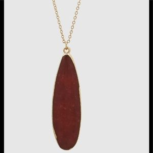 Long Teardrop Natural Stone Necklace