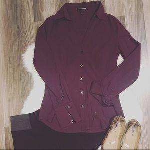 Express button down dressy top. Deep purple.