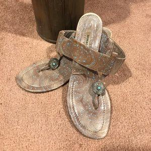 Manolo blahnik paisley blue brown BoHo thong heels