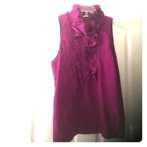 Purple J Crew Sleeveless Silk Blouse