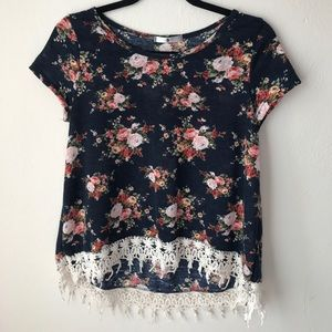 Blu Planet Floral Short Sleeve Sweater With Fringe