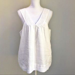 J. Crew Lined White Linen Tank With Eyelet Straps