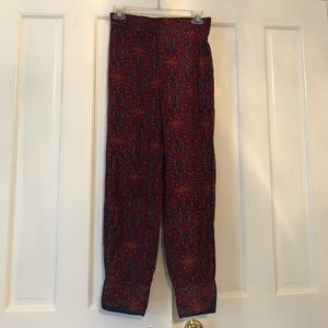 Red and blue 3/4 leg jogger pants