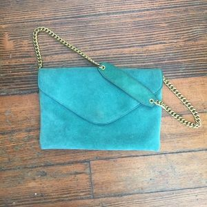 J. Crew Teal Suede Chain Link envelope Handbag