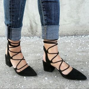 Zara Lace Up Block Heels
