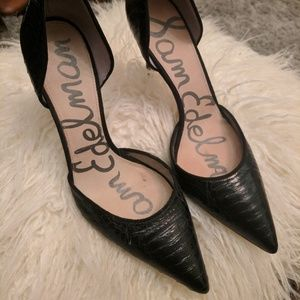 Sam Edelman Snakeskin Black Heels