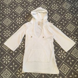 White cotton terry beach/pool cover-up