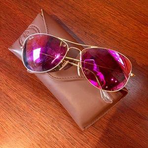 Ray Ban Cockpit Sunglasses Pink Flash
