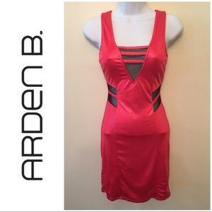 NWT Arden B Bodycon Mesh Cutout V-Back Tank Dress