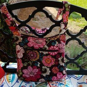 Vera Bradley Multi Colored Flower Cross Over Bag