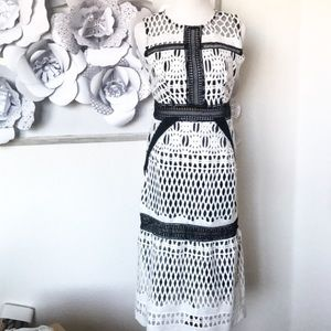 Dresses - Contrast Lace Monochrome Dress