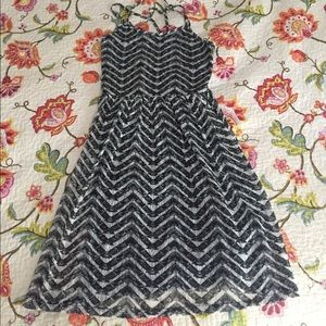 Black and white lace straps sundress small