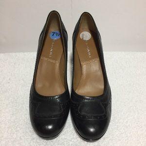 Tahari Black Leather Loafer Heels