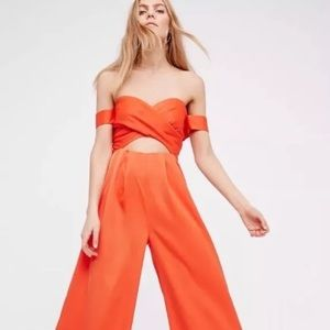NWOT Free People Reflections Jumpsuit Orange Sz 2