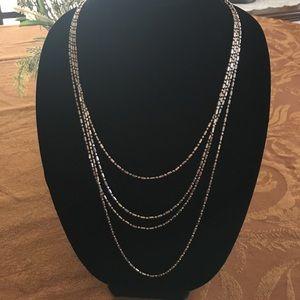 Diamond cut tiny link 96 inch silver chain