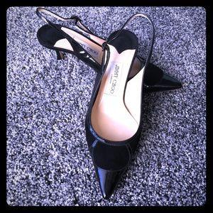 🆕Jimmy Choo black suede & patent heels