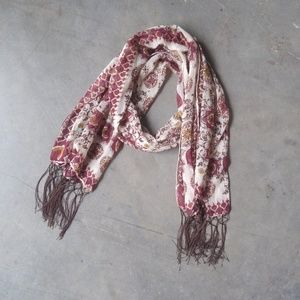 Maurices Maroon and Brown Fringe Scarf