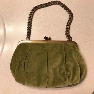 J. Crew Green Velvet Evening Bag.