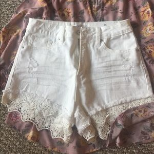 High waisted white shorts with lace detail NWT