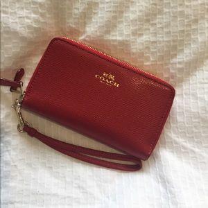 Red Coach Double Zip Wallet