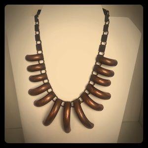 Bronze brush metal necklace