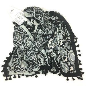 NWT - BCBG large square tassel scarf