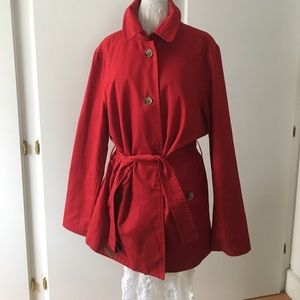 Red shirt trench coat