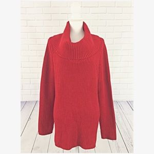 Jones New York Red Cowl Neck Oversized Sweater