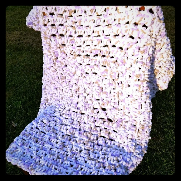 Handmade Crocheted Bernat Baby Afghan Blanket