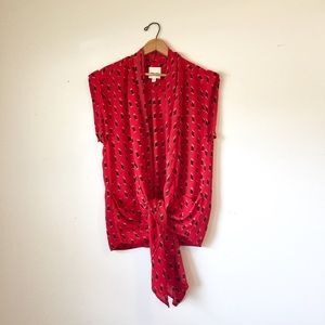 Silence + noise red tie front patterned kimono