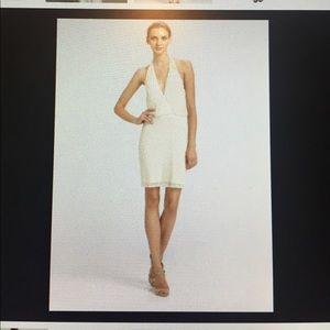 NWT Aidan Mattox Ivory Beaded Halter Dress Sz 0