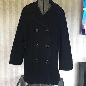 Black plus size pea coat
