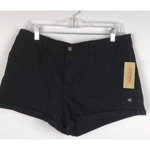 {American Rag} Junior Solid Black Denim Shorts