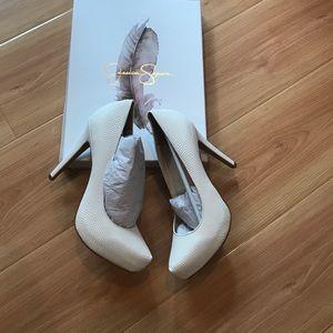 Jessica Simpson white rumba snake shoe