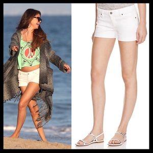 paige // white denim canyon shorts