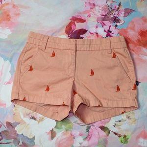 J Crew Orange Sailboat Embroidered Chino Shorts
